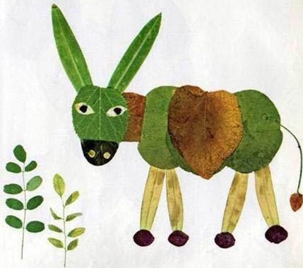 树叶拼成的动物图片