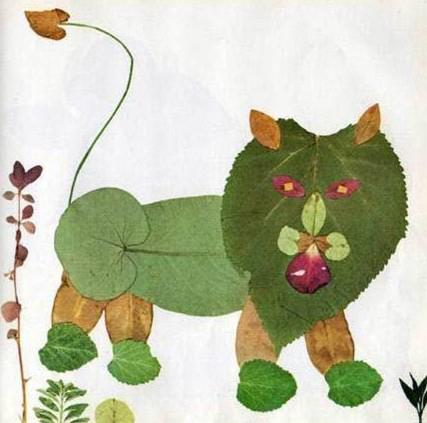 这是一组树叶拼成的可爱的小动物,是不是让你想到了童年的点滴呢,当