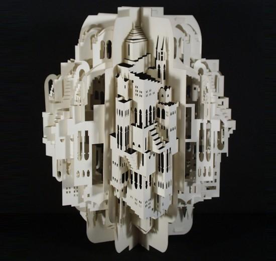 镂空纸雕建筑